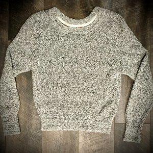 Free People Black/White Marled crewneck sweater L